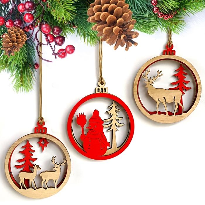 Image of 3Pcs/Set Christmas Reindeer Snowman Ornament Decoration