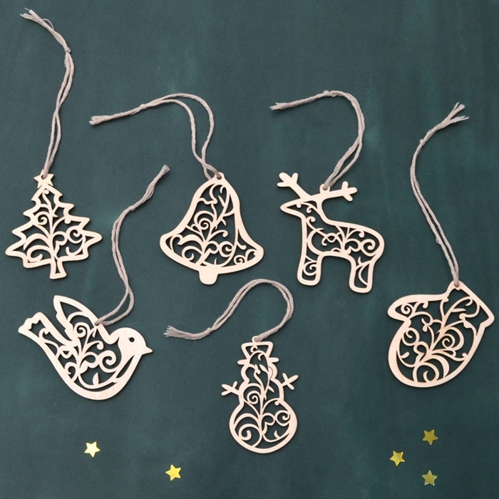 Image of 6Pcs/Set Christmas Tree Reindeer Cutouts Ornament Decoration