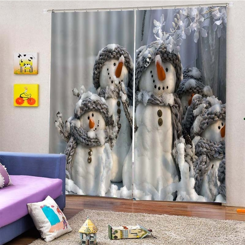 Image of 2Pcs/Set Christmas Snowmen Family Window Curtain