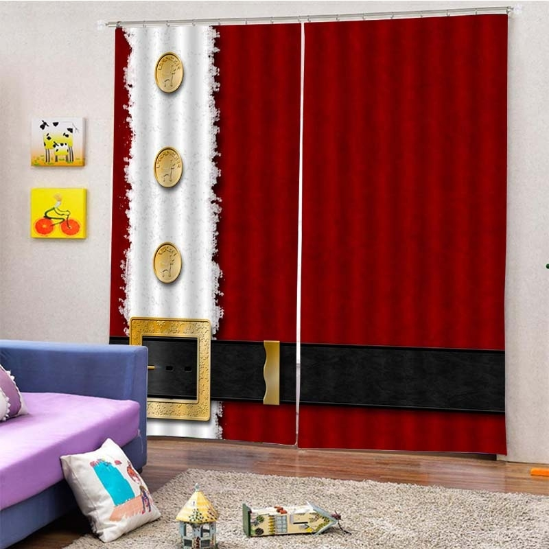 Image of 2Pcs/Set Christmas Clothing Pattern Window Curtain