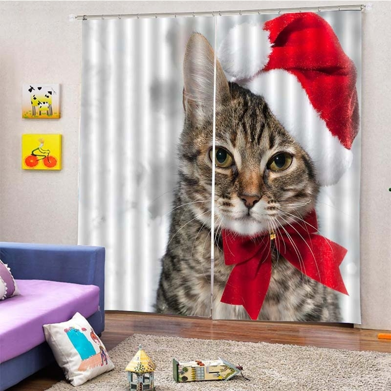 Image of 2Pcs/Set Christmas Cat Hat Window Curtain