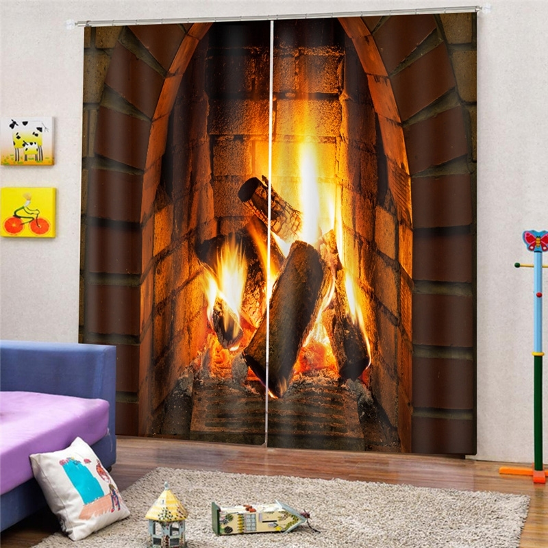 Image of 2Pcs/Set Christmas Fireplace Window Curtain