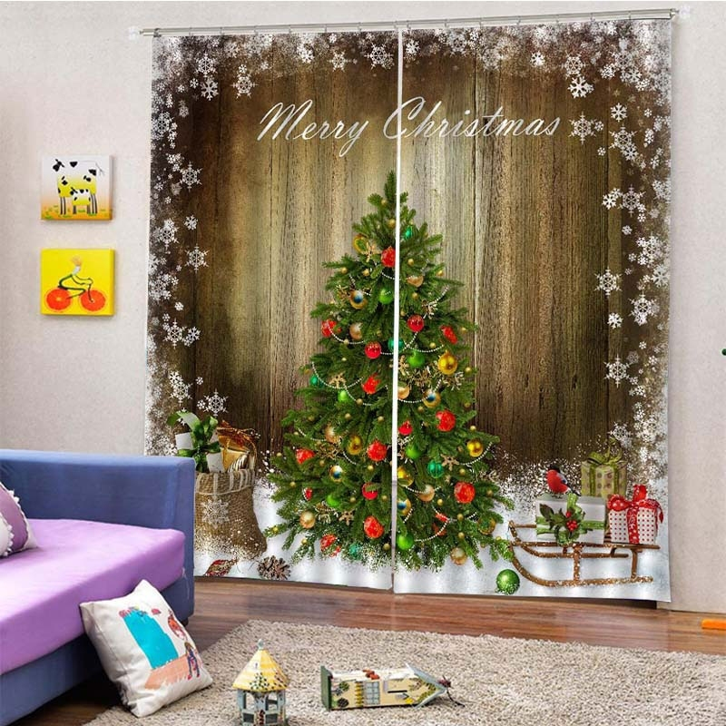 Image of 2Pcs/Set Merry Christmas Tree Window Curtain