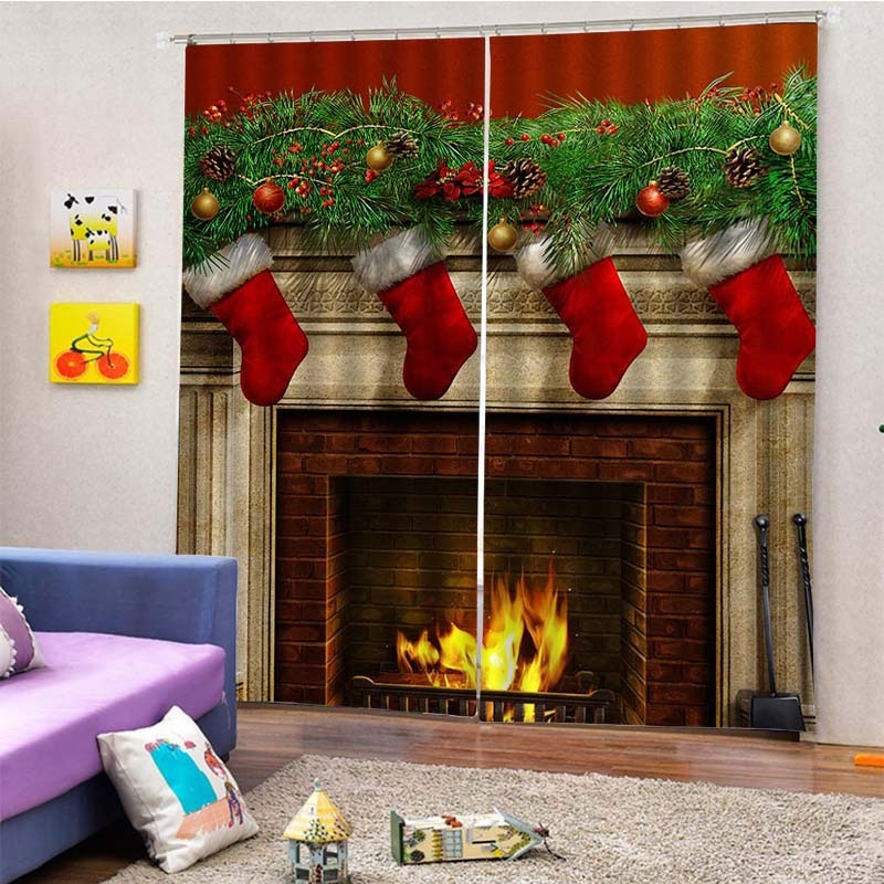 Image of 2Pcs/Set Christmas Fireplace Sock Window Curtain