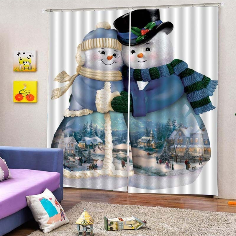 Image of 2Pcs/Set Christmas Snowmen Couple Window Curtain