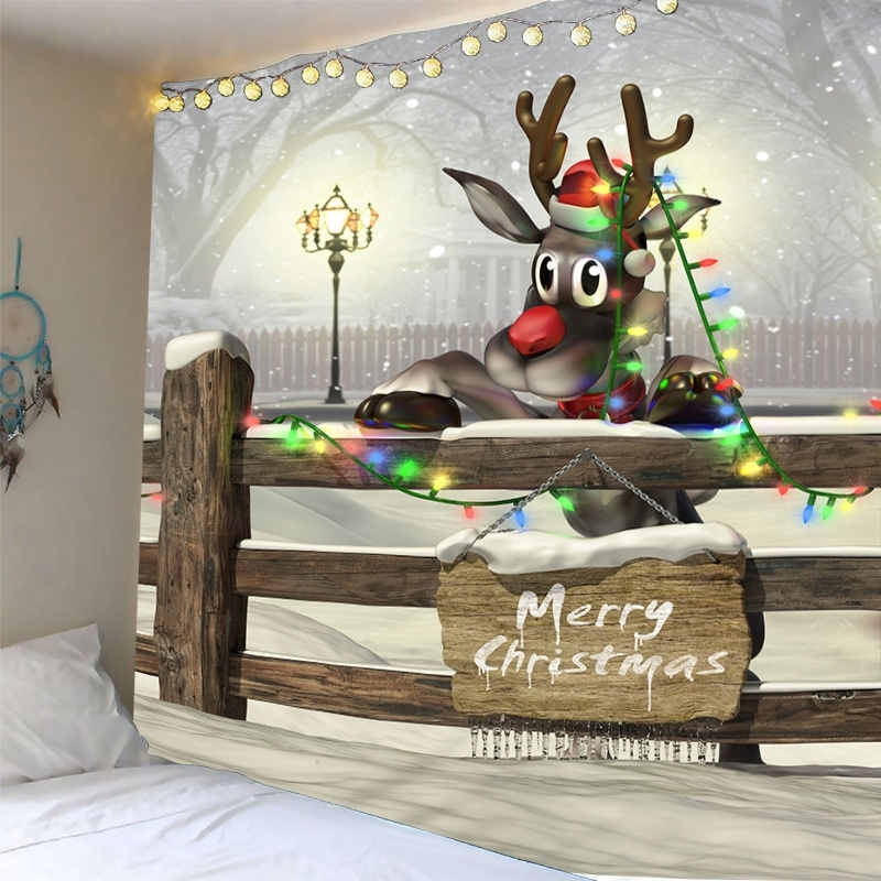 Image of Christmas Reindeer Print Waterproof Wall Tapestry