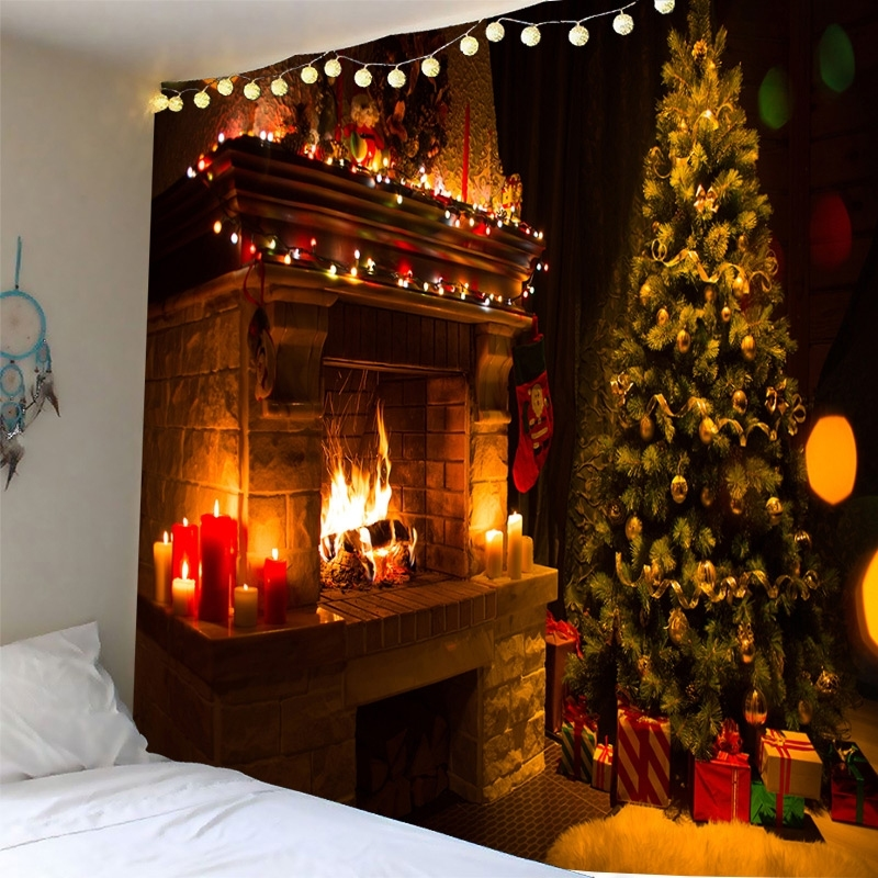 Image of Christmas Fireplace Waterproof Wall Tapestry