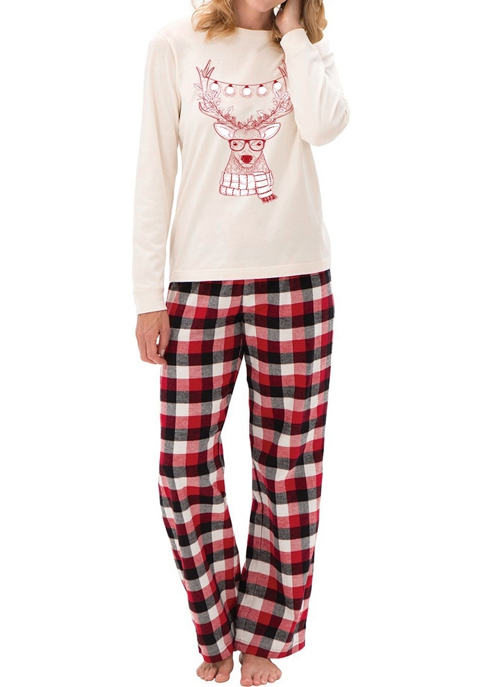 Image of Mommy Dad And Me Christmas Reindeer Pajamas Set