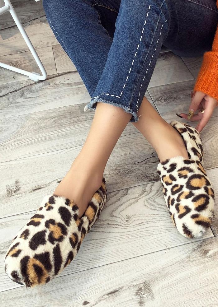 Image of Leopard Fluffy Fashion Flats