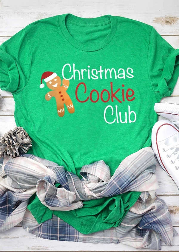 Christmas Cookie Club O-Neck T-Shirt Tee