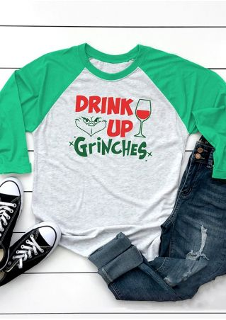 Drink Up Grinches Baseball T-Shirt Tee
