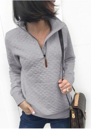 Solid Zipper Pocket Sweatshirt