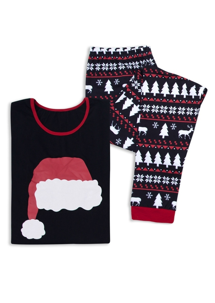 Image of Mommy Daddy And Me Christmas Hat Pajamas Set