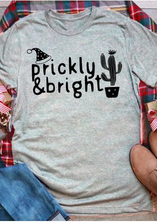 Christmas Prickly & Bright Cactus T-Shirt Tee