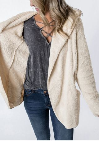 Solid Fluffy Hooded Long Sleeve Cardigan