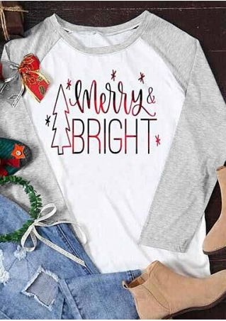 Christmas Merry & Bright Baseball T-Shirt Tee