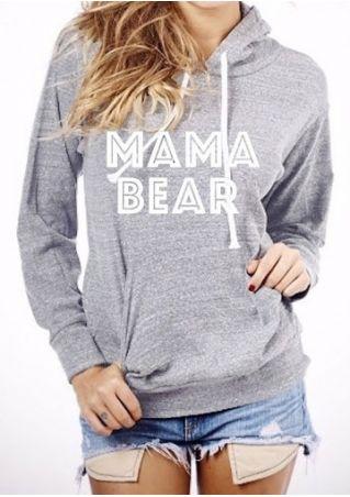 MAMA BEAR Printed Kangaroo Pocket Hoodie