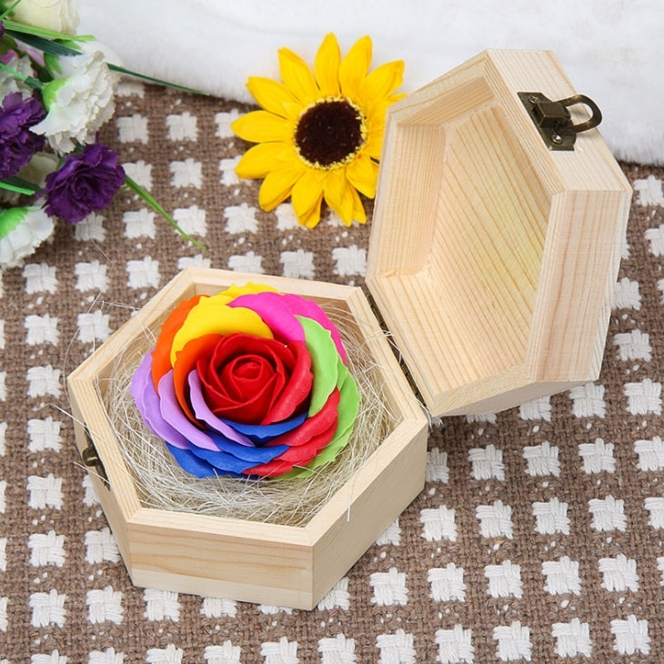 Image of Valentines Day Colorful Rose Soap Flower Gift Box