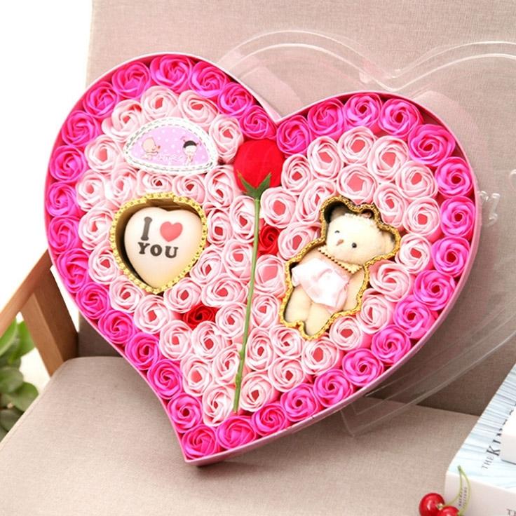 Image of I Love you Soap Flower Gift Box Bear Gift