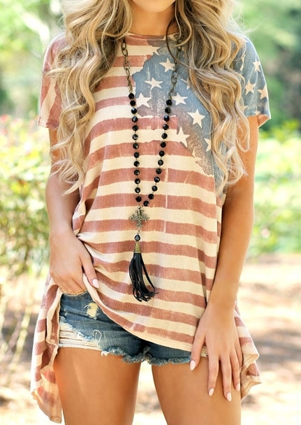 Image of American Flag Asymmetric Blouse