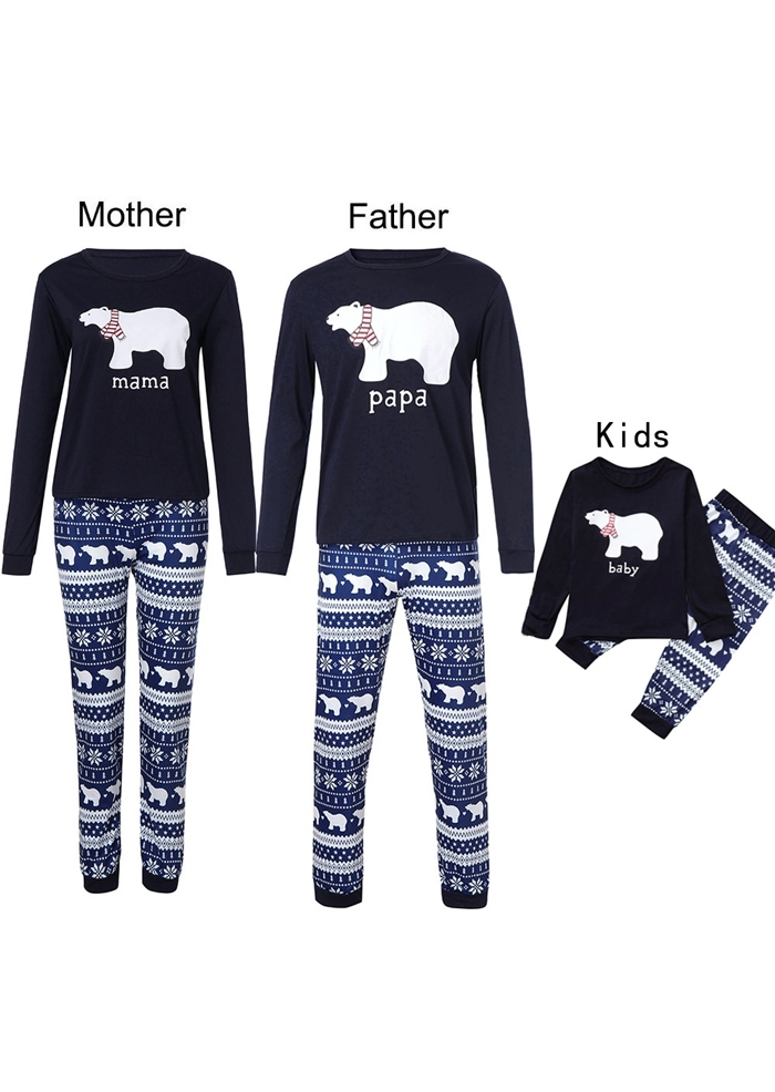 Image of Mommy Daddy And Me Christmas Baby Bear Pajamas Set