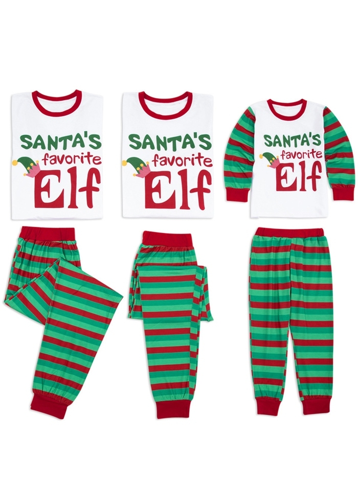 Image of Mommy Daddy and Me Santas Favorite Elf Striped Pajamas Set