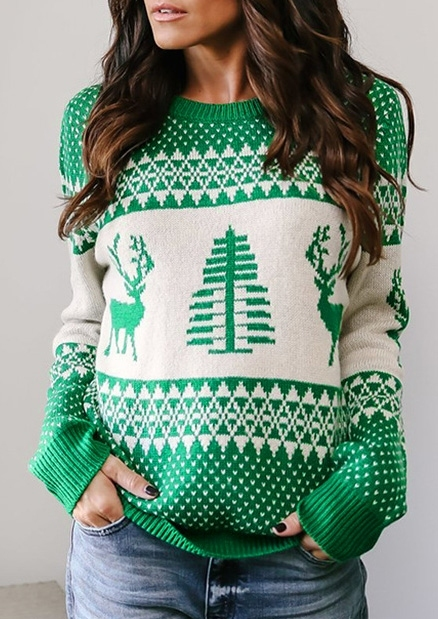 Image of Christmas Tree Reindeer Knitted Sweater
