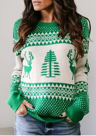 Christmas Tree Reindeer Knitted Sweater