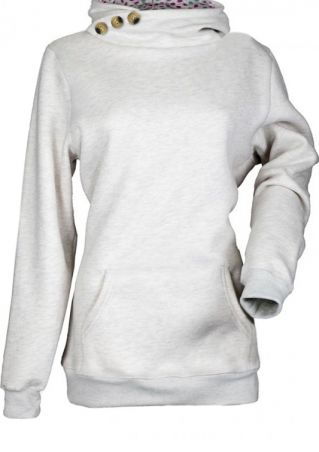 Button Splicing Long Sleeve Hoodie