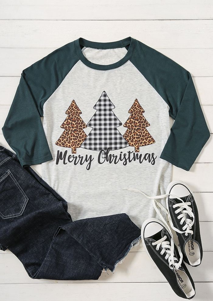 86517d0b6 ... Christmas Plaid Leopard Printed Tree Baseball T-Shirt Tee. Zoom