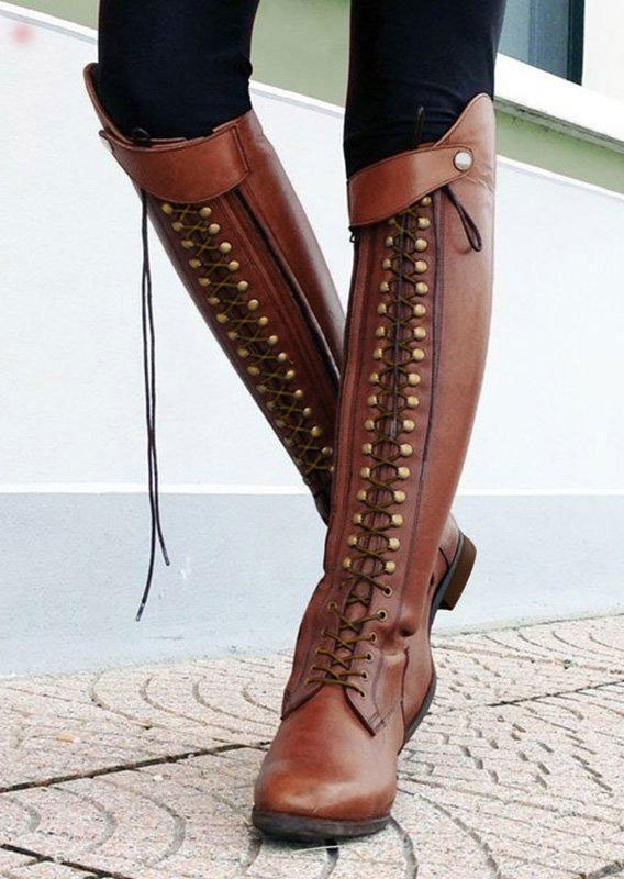Boots Vintage Rivet Knee High Boots in Red. Size: 37 фото