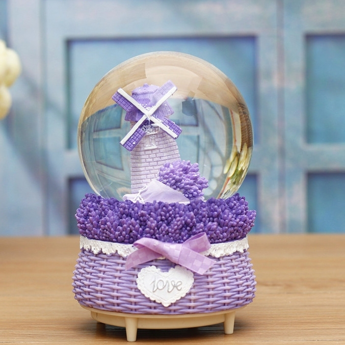 Image of Valentine Gift Windmill Lavender Crystal Ball