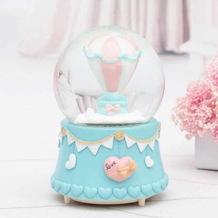Image of Valentine Gift Hot Air Balloon Crystal Ball