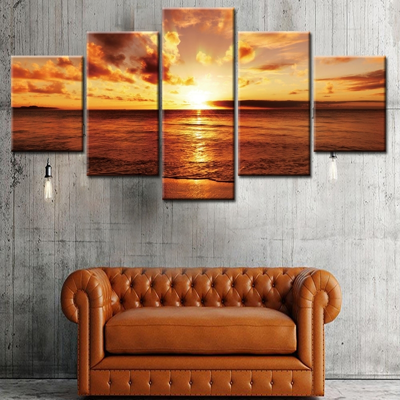 Image of Sunset Beach Canvas Wall Art Painting