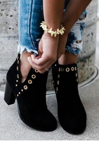 Solid Heeled Round Toe Boots