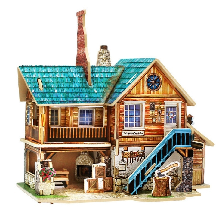 Image of 3D DIY House Building Model Puzzle Craft Educational Toy Gift