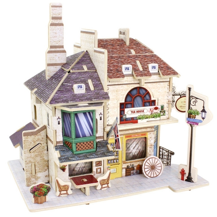 Image of 3D DIY Tea House Building Model Puzzle Craft Toy Gift