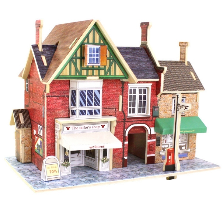 Image of 3D DIY The Tailors Shop House Building Model Puzzle Toy Gift