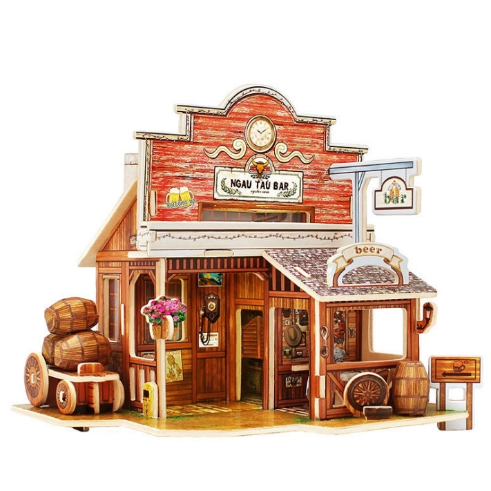 Image of 3D DIY Bar Miniature Craft Model Building Puzzle Toy Gift