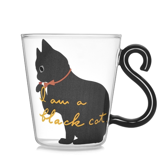 Cat Coffee Mug Cup with Cat Tail Handle