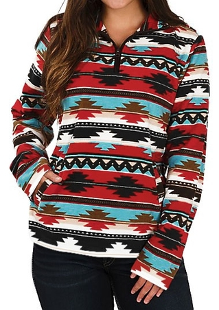 Striped Aztec Geometric Printed Multicolor Zipper Sweatshirt