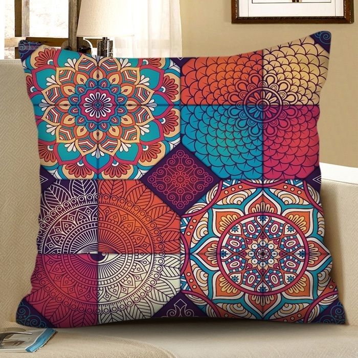Image of Bohemian Mandala Printed Decorative Pillowcase