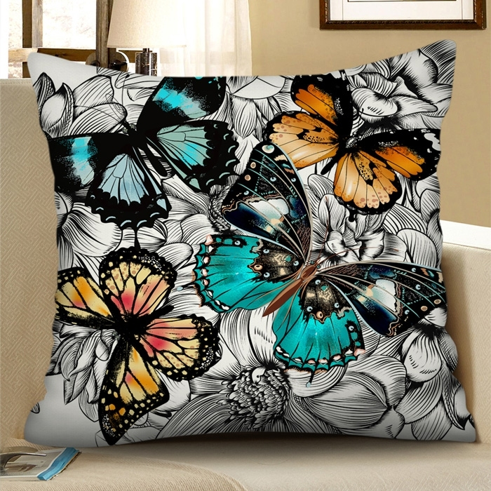 Image of Butterfly Square Decorative Pillowcase