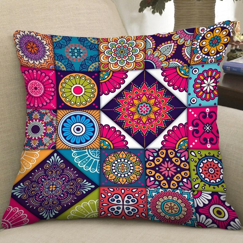 Image of Bohemian Floral Square Pillowcase