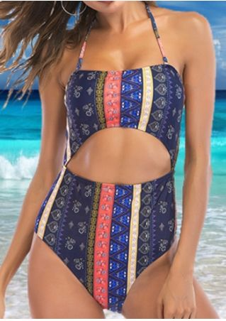 Printed Halter One-Piece Swimsuit