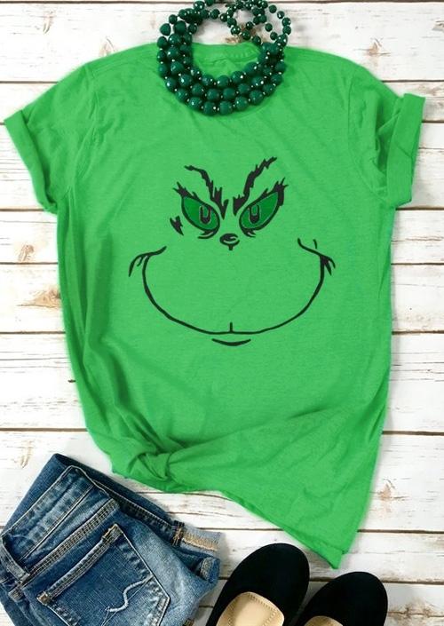 Christmas Graphic O-Neck T-Shirt Tee - Green