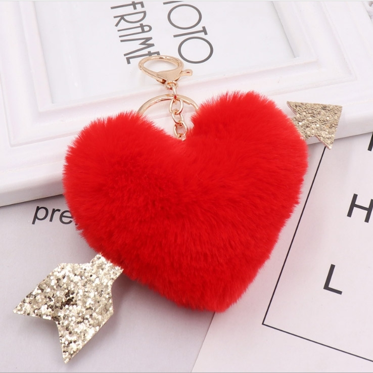 Image of Valentine Faux Fur Heart Decor Keyring