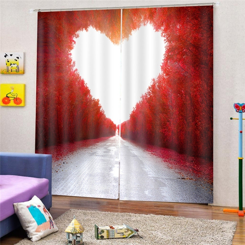 Image of 2Pcs/Set Valentines Day Love Forest Window Curtain