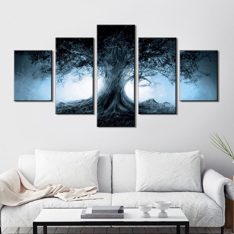 Image of 5Pcs/Set Tree Hanging Wall Art Painting
