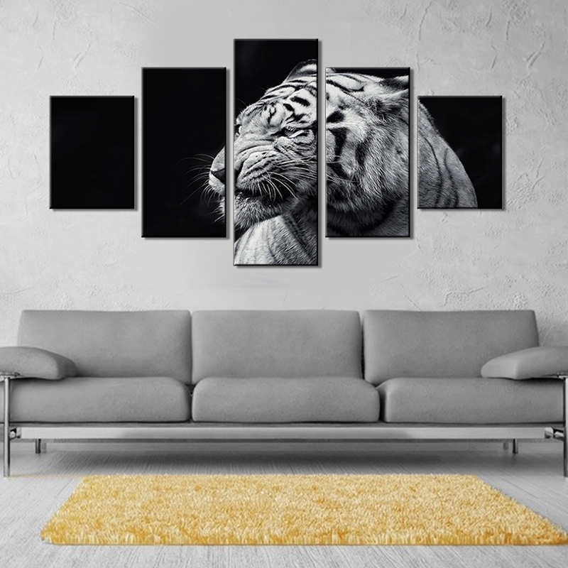Image of 5Pcs/Set Tiger Hanging Wall Art Painting